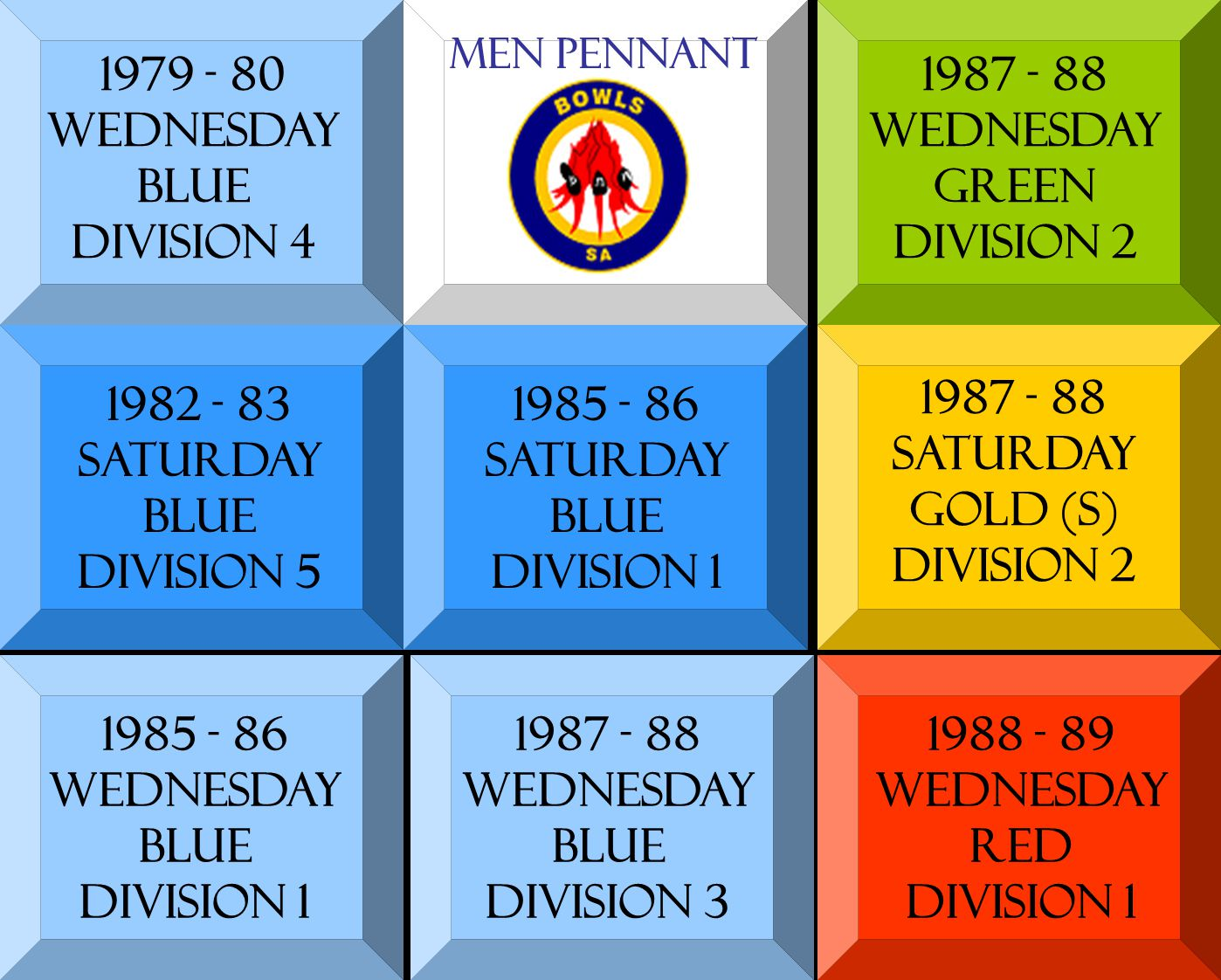 1979 - 80 WEDNESDAY BLUE DIVISION 4 1982 - 83 SATURDAY BLUE DIVISION 5 1985 - 86 SATURDAY BLUE DIVISION 1 1985 - 86 WEDNESDAY BLUE DIVISION 1 1987 - 88 WEDNESDAY BLUE DIVISION 3 1987 - 88 WEDNESDAY GREEN DIVISION 2 1987 - 88 SATURDAY GOLD (s) DIVISION 2 1988 - 89 WEDNESDAY RED DIVISION 1 Men pennant