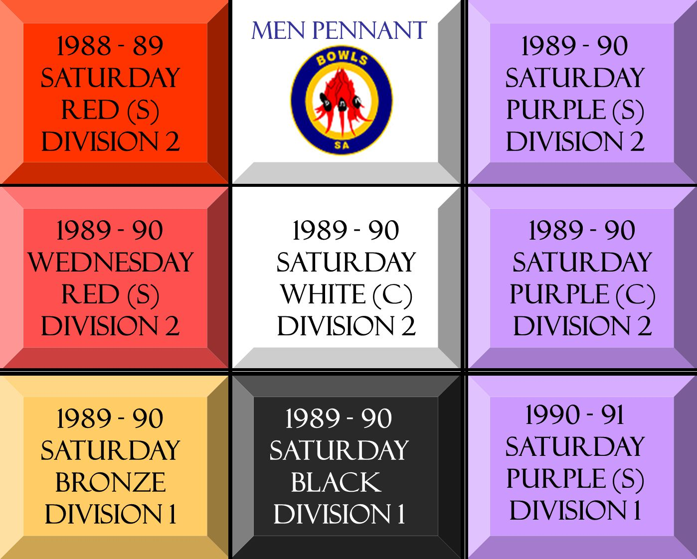 1988 - 89 SATURDAY RED (s) DIVISION 2 1989 - 90 WEDNESDAY RED (s) DIVISION 2 1989 - 90 SATURDAY BRONZE DIVISION 1 1989 - 90 SATURDAY WHITE (C) DIVISION 2 1989 - 90 SATURDAY BLACK DIVISION 1 1989 - 90 SATURDAY PURPLE (s) DIVISION 2 1989 - 90 SATURDAY PURPLE (C) DIVISION 2 1990 - 91 SATURDAY PURPLE (s) DIVISION 1 Men pennant