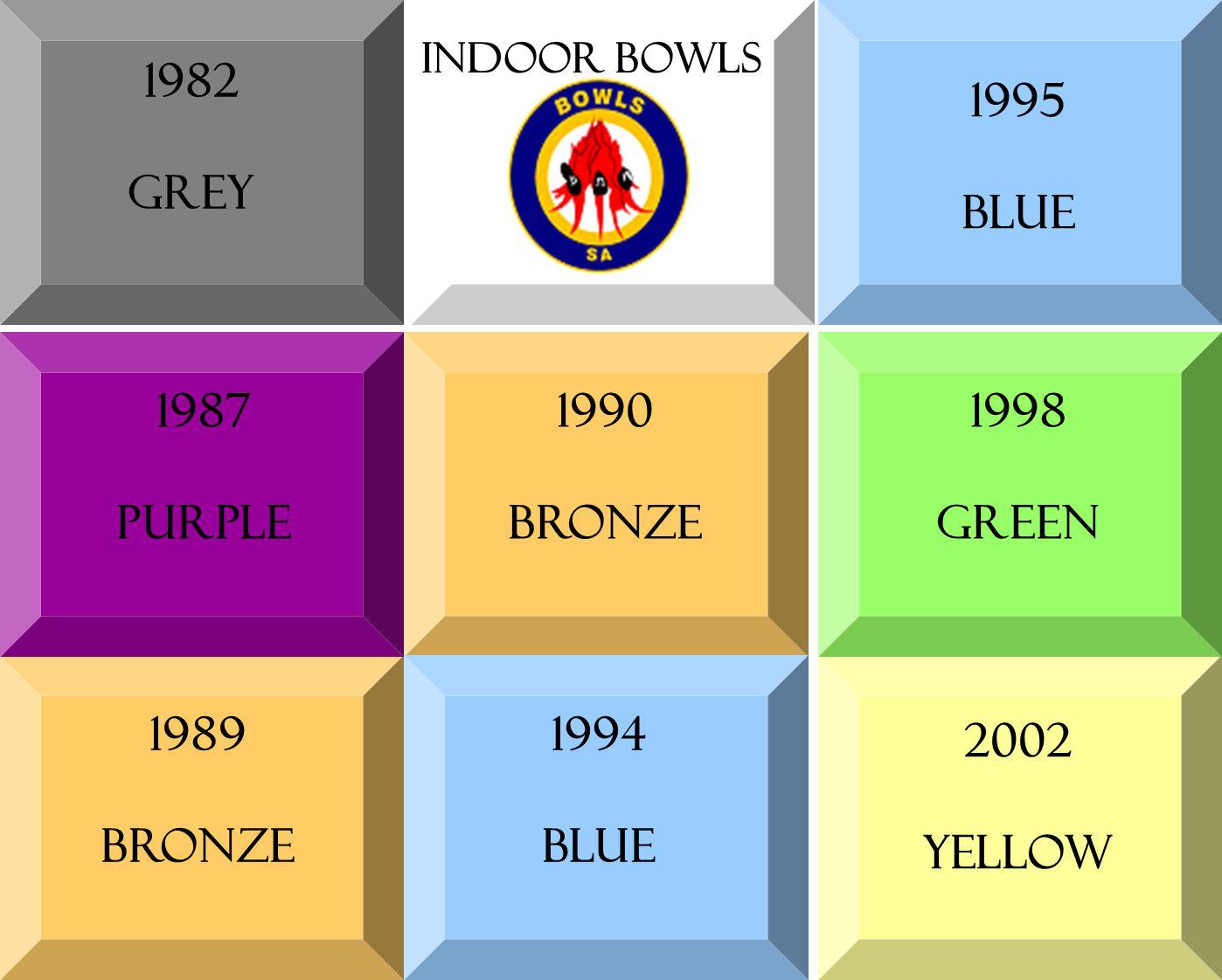 1982 grey 1987 purple 1989 bronze 1994 blue 1990 bronze 1995 blue 1998 green 2002 yellow Indoor bowls