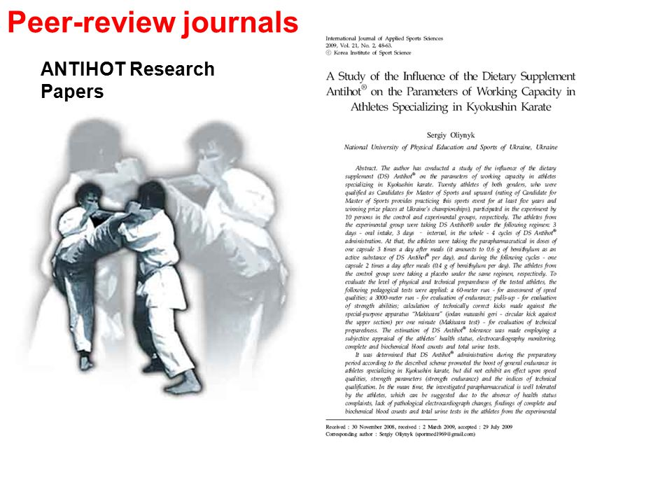 ANTIHOT Research Papers Peer-review journals
