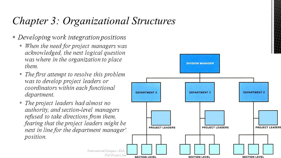  Developing work integration positions  When the need for project managers was acknowledged, the next logical question was where in the organization