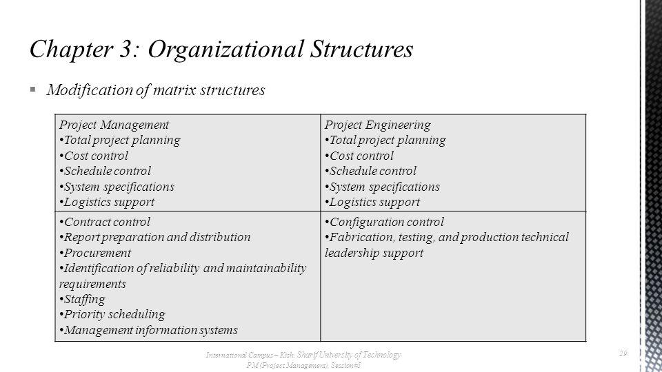  Modification of matrix structures International Campus – Kish, Sharif University of Technology PM (Project Management), Session#5 29 Project Managem