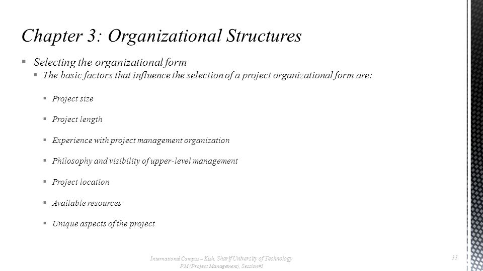  Selecting the organizational form  The basic factors that influence the selection of a project organizational form are:  Project size  Project le