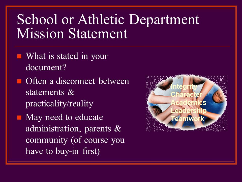 Athletic Mission Statement …to create an environment that maximizes student participation, supports academic progress and promotes physical and social development.