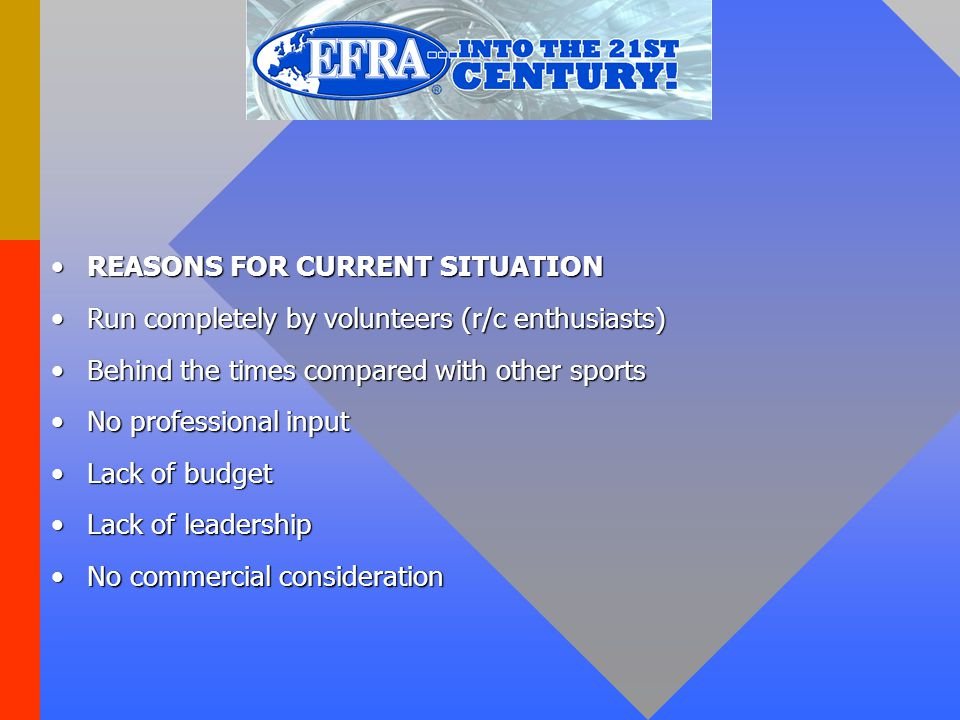 REASONS FOR CURRENT SITUATIONREASONS FOR CURRENT SITUATION Run completely by volunteers (r/c enthusiasts)‏Run completely by volunteers (r/c enthusiast