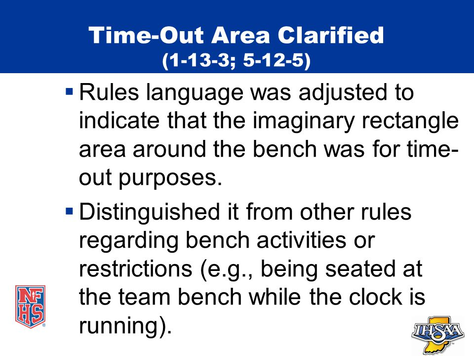 Time-Out Area Clarified (1-13-3; 5-12-5)  Rules language was adjusted to indicate that the imaginary rectangle area around the bench was for time- out purposes.