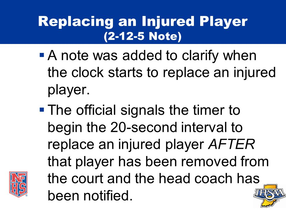 Replacing an Injured Player (2-12-5 Note)  A note was added to clarify when the clock starts to replace an injured player.