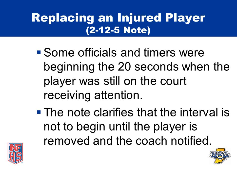 Replacing an Injured Player (2-12-5 Note)  Some officials and timers were beginning the 20 seconds when the player was still on the court receiving attention.
