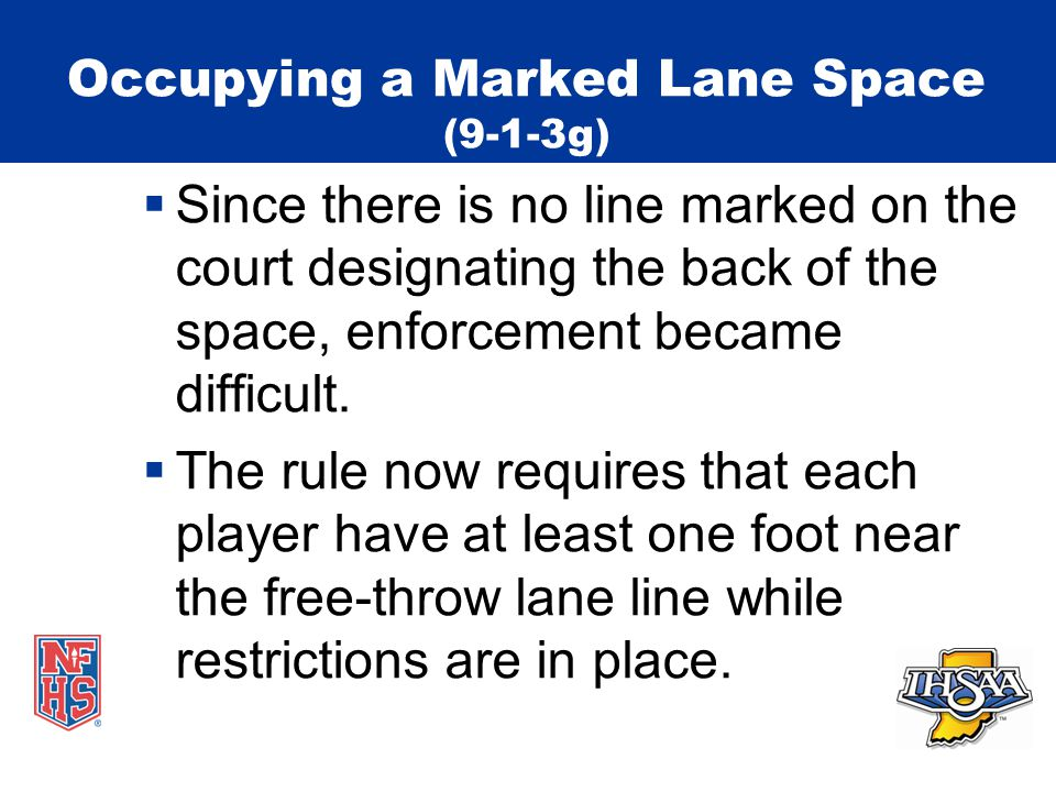 Occupying a Marked Lane Space (9-1-3g)  Since there is no line marked on the court designating the back of the space, enforcement became difficult.