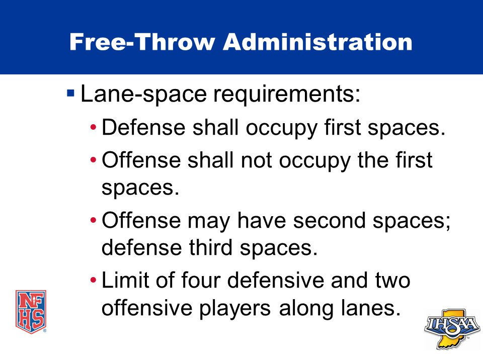 Free-Throw Administration  Lane-space requirements: Defense shall occupy first spaces.