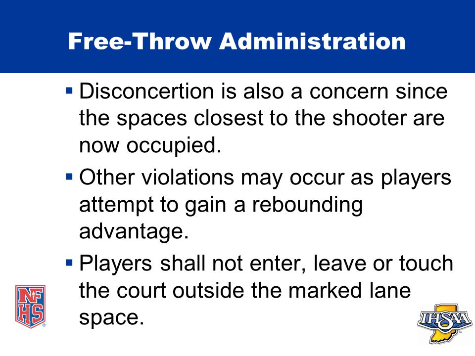 Free-Throw Administration  Disconcertion is also a concern since the spaces closest to the shooter are now occupied.