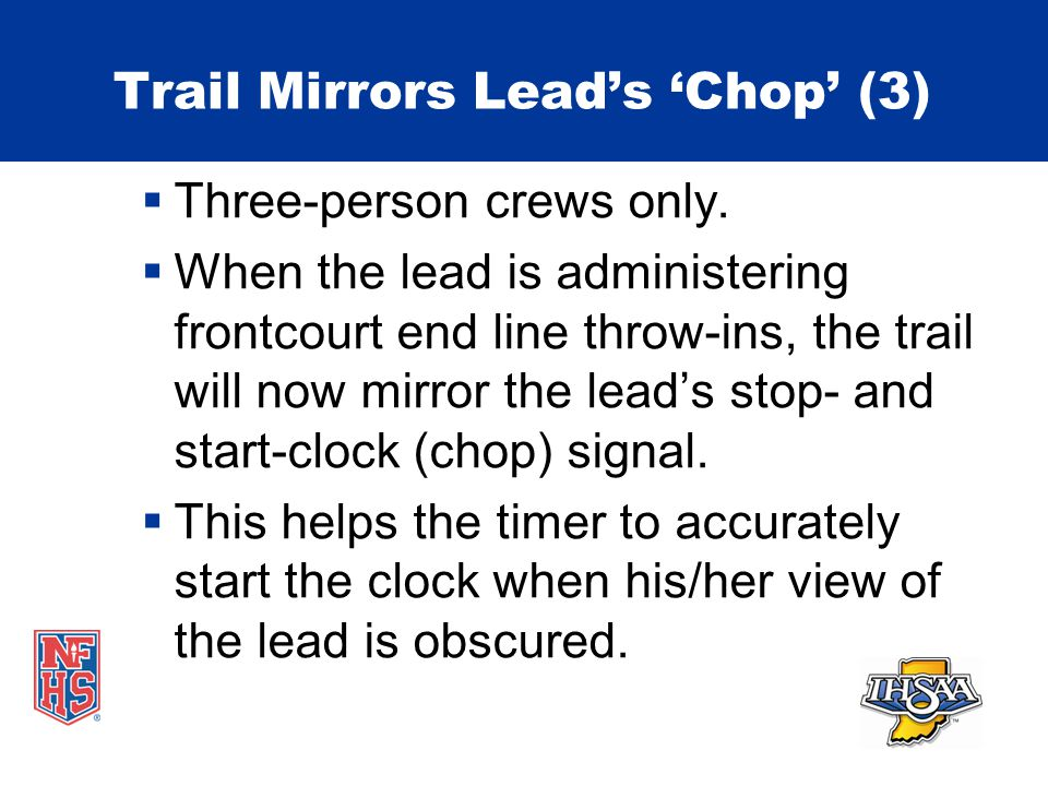 Trail Mirrors Lead's 'Chop' (3)  Three-person crews only.