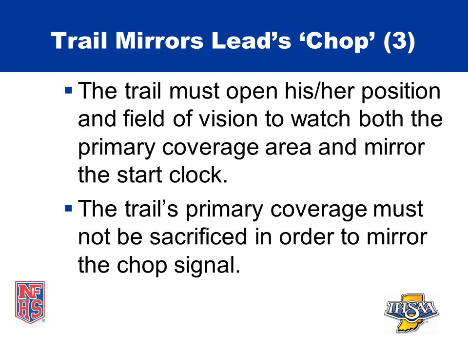 Trail Mirrors Lead's 'Chop' (3)  The trail must open his/her position and field of vision to watch both the primary coverage area and mirror the start clock.