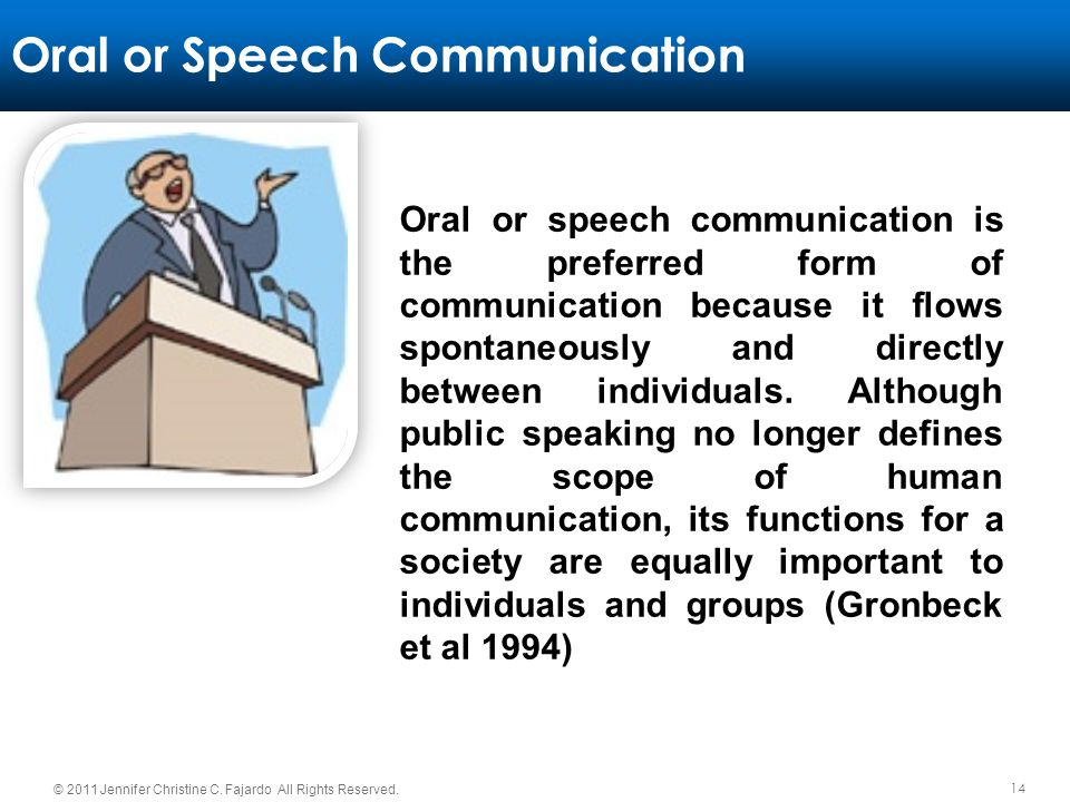 14 © 2011 Jennifer Christine C. Fajardo All Rights Reserved. Oral or Speech Communication Oral or speech communication is the preferred form of commun