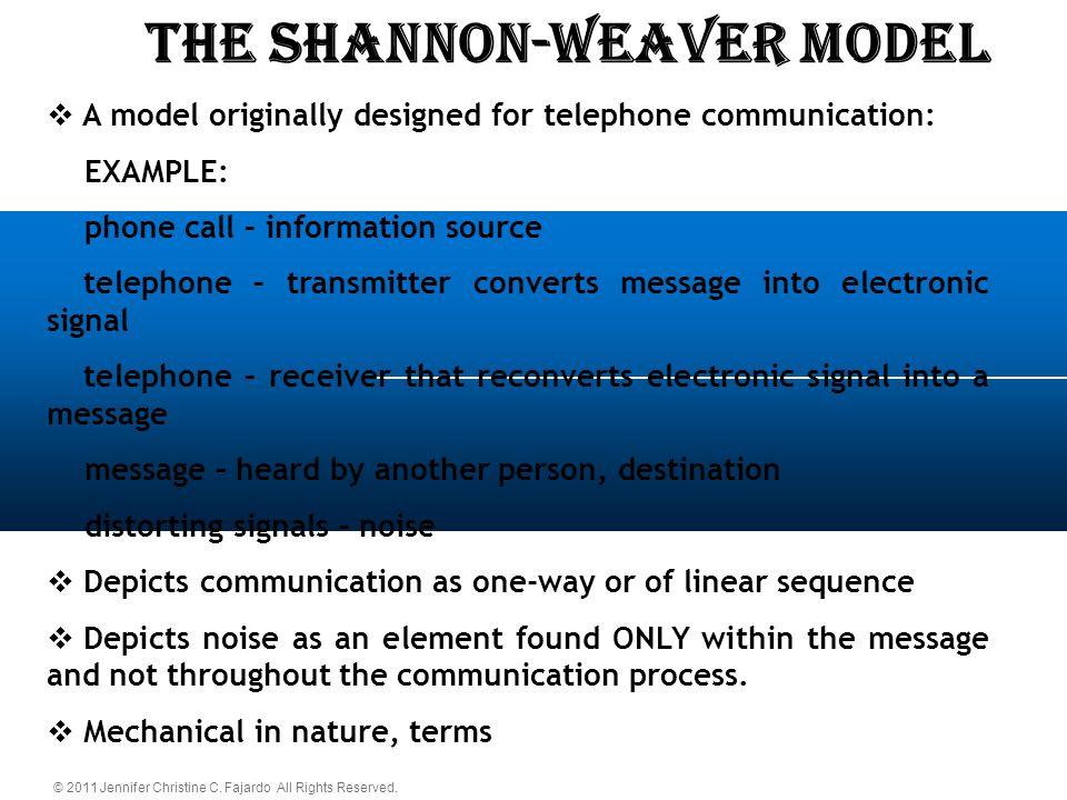 © 2011 Jennifer Christine C. Fajardo All Rights Reserved. The SHANNON-WEAVER Model  A model originally designed for telephone communication: EXAMPLE: