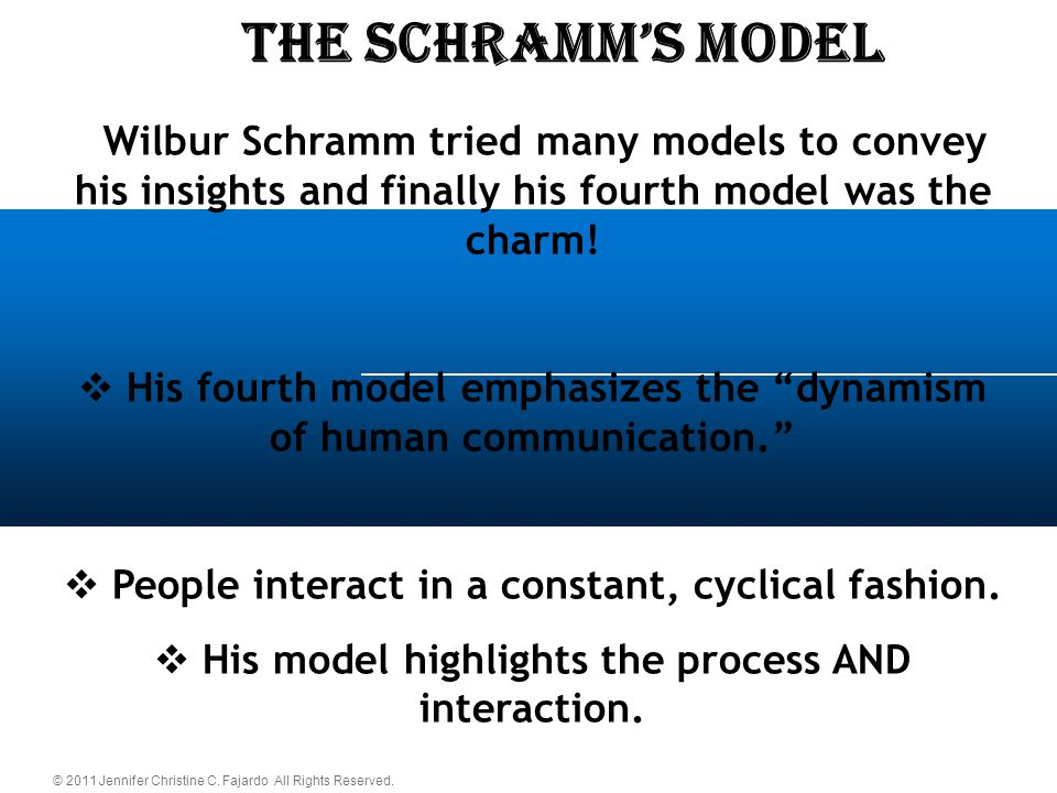 © 2011 Jennifer Christine C. Fajardo All Rights Reserved. The schramm's Model  Wilbur Schramm tried many models to convey his insights and finally hi