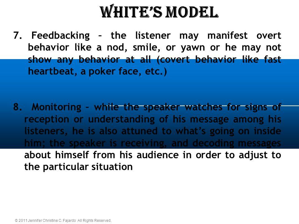 © 2011 Jennifer Christine C. Fajardo All Rights Reserved. WHITE'S Model 7. Feedbacking – the listener may manifest overt behavior like a nod, smile, o