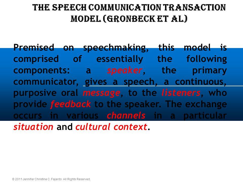 © 2011 Jennifer Christine C. Fajardo All Rights Reserved. THE SPEECH COMMUNICATION TRANSACTION Model (Gronbeck et al) Premised on speechmaking, this m