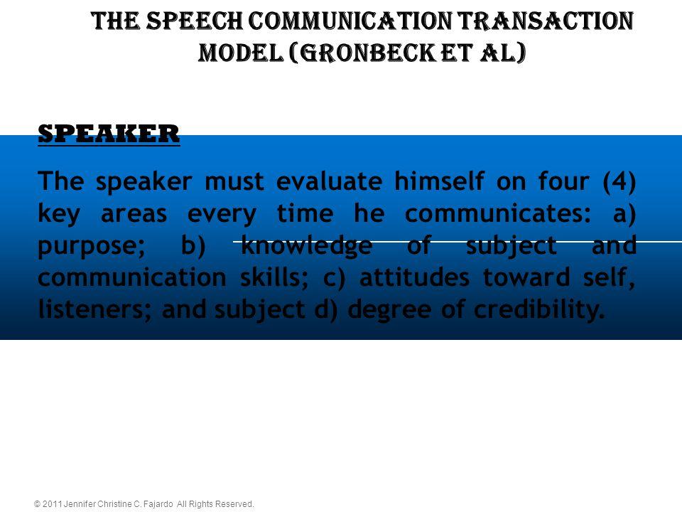 © 2011 Jennifer Christine C. Fajardo All Rights Reserved. THE SPEECH COMMUNICATION TRANSACTION Model (Gronbeck et al) SPEAKER The speaker must evaluat