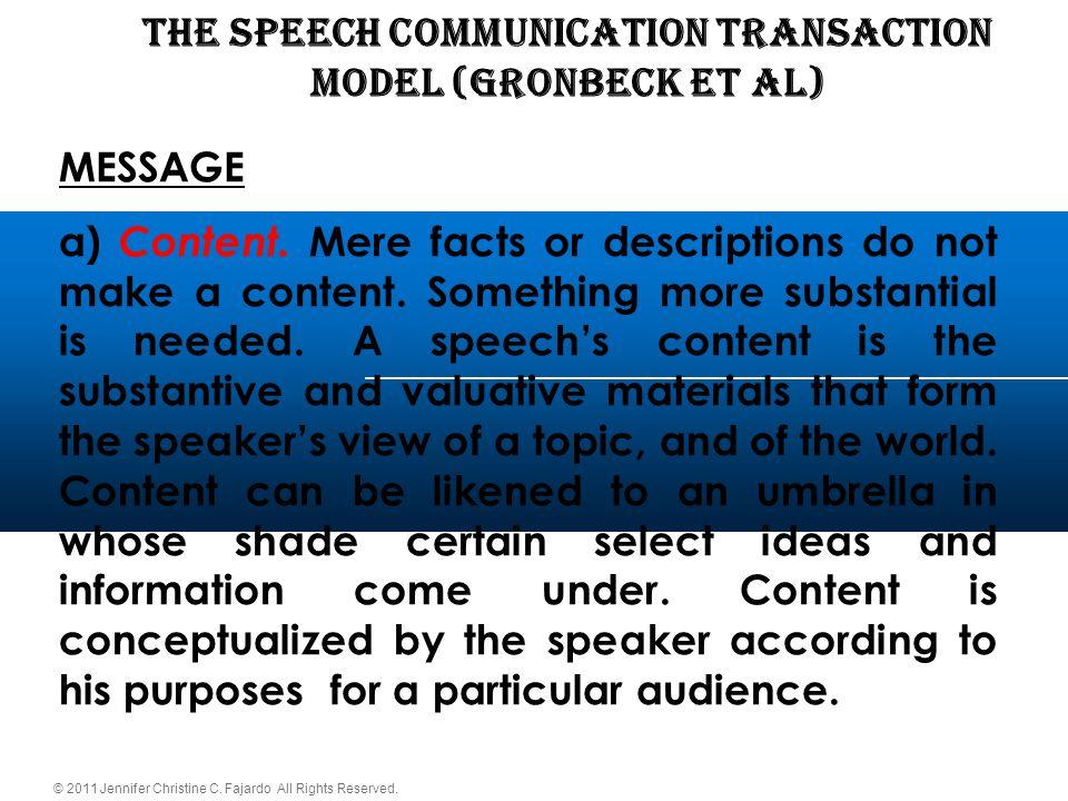 © 2011 Jennifer Christine C. Fajardo All Rights Reserved. THE SPEECH COMMUNICATION TRANSACTION Model (Gronbeck et al) MESSAGE a) Content. Mere facts o
