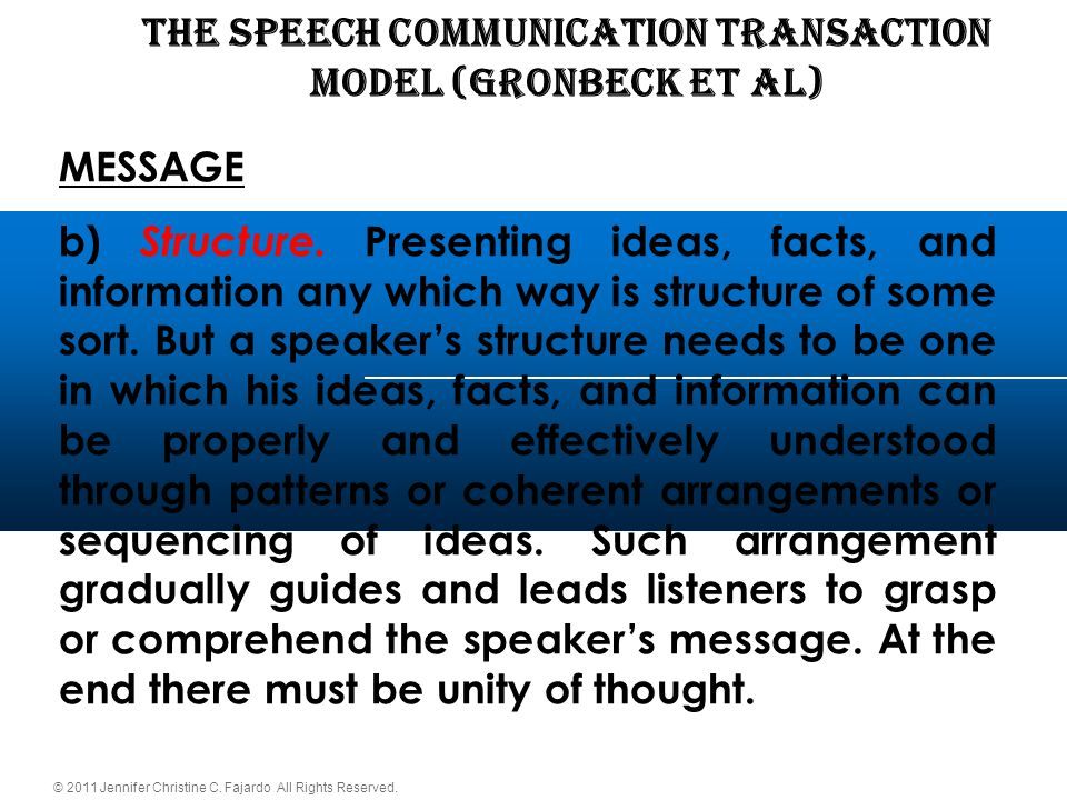 © 2011 Jennifer Christine C. Fajardo All Rights Reserved. THE SPEECH COMMUNICATION TRANSACTION Model (Gronbeck et al) MESSAGE b) Structure. Presenting