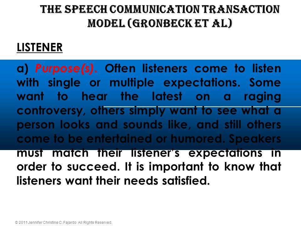 © 2011 Jennifer Christine C. Fajardo All Rights Reserved. THE SPEECH COMMUNICATION TRANSACTION Model (Gronbeck et al) LISTENER a) Purpose(s). Often li