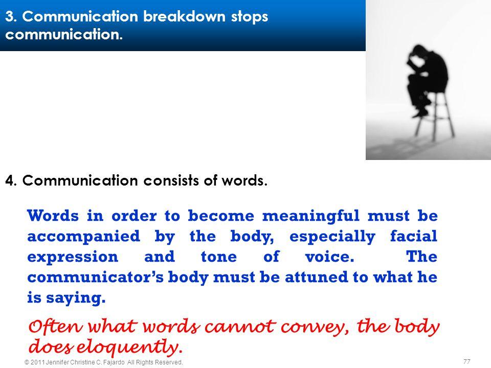 77 © 2011 Jennifer Christine C. Fajardo All Rights Reserved. 3. Communication breakdown stops communication. 4. Communication consists of words. Words
