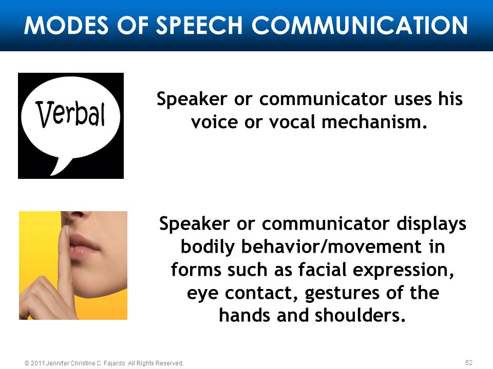 82 © 2011 Jennifer Christine C. Fajardo All Rights Reserved. MODES OF SPEECH COMMUNICATION Speaker or communicator uses his voice or vocal mechanism.