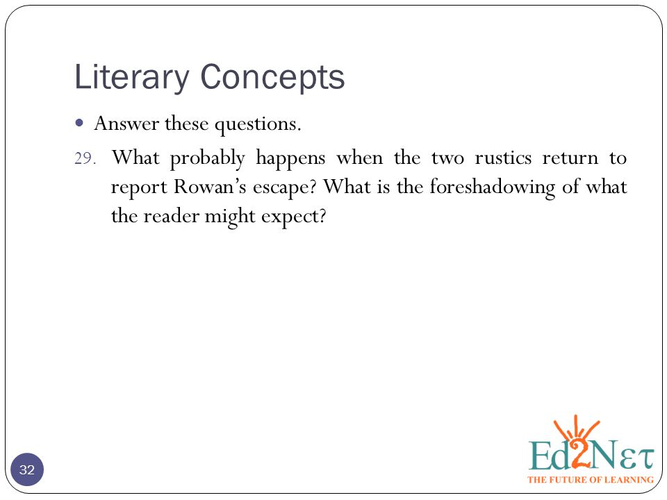Literary Concepts 32 Answer these questions. 29.