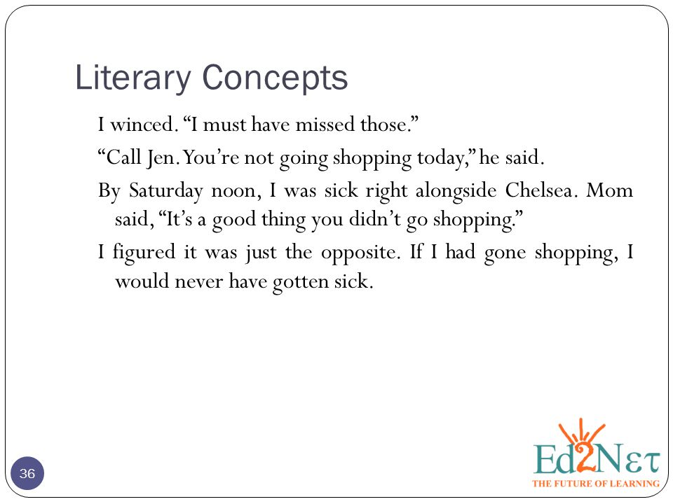 Literary Concepts 36 I winced. I must have missed those. Call Jen.