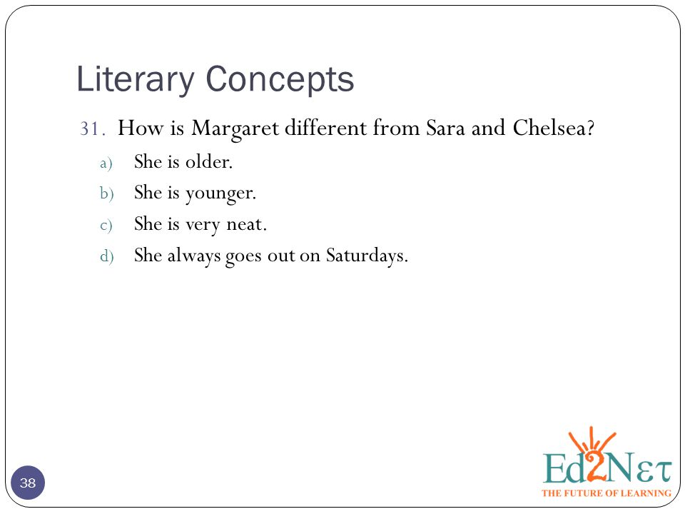 Literary Concepts 38 31. How is Margaret different from Sara and Chelsea.