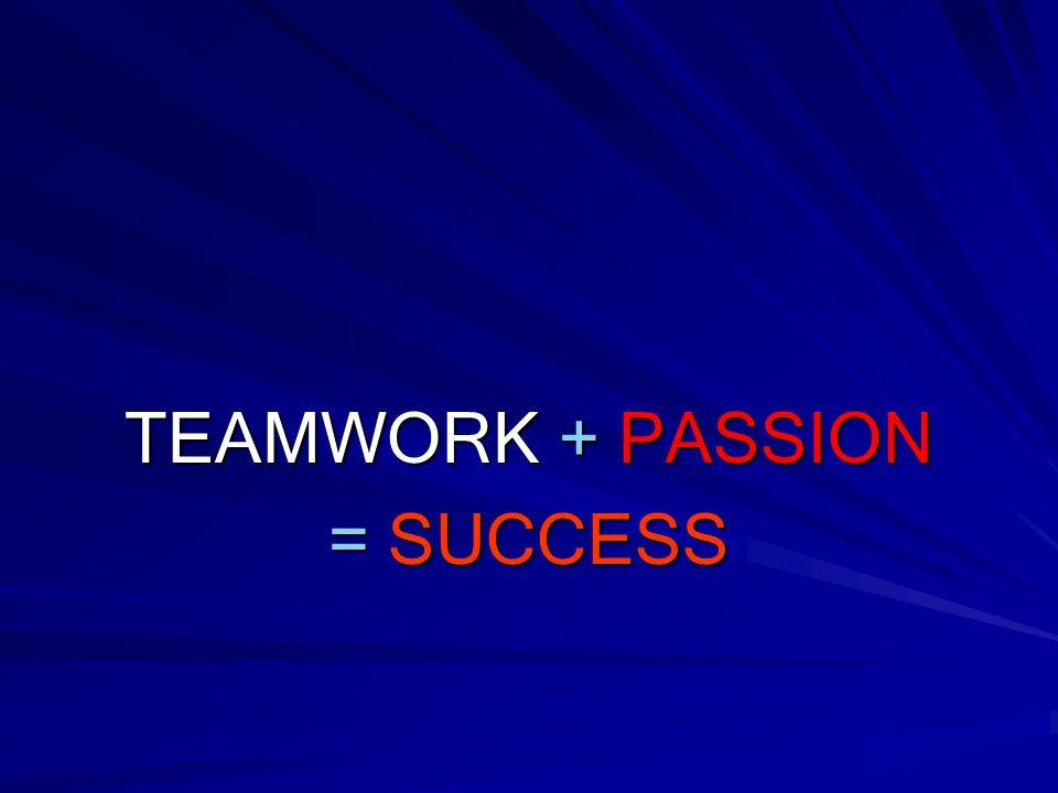 TEAMWORK + PASSION = SUCCESS