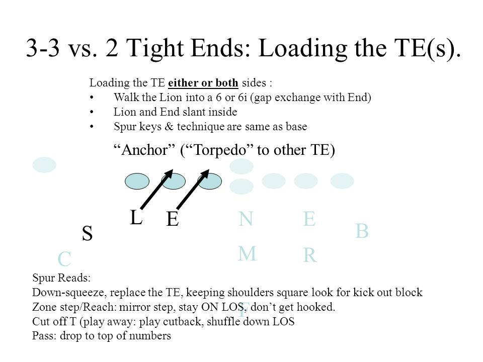 E L S EN R B C F M Loading the TE either or both sides : Walk the Lion into a 6 or 6i (gap exchange with End) Lion and End slant inside Spur keys & technique are same as base 3-3 vs.