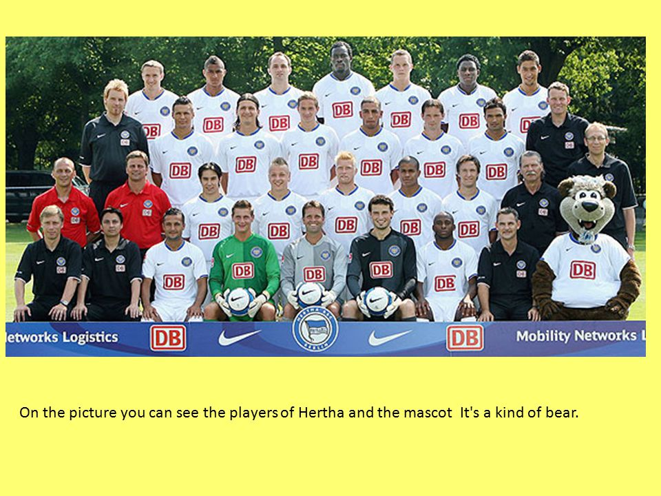 On the picture you can see the players of Hertha and the mascot It s a kind of bear.