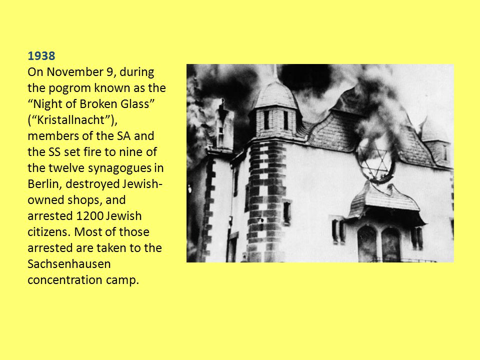 """1938 On November 9, during the pogrom known as the """"Night of Broken Glass"""" (""""Kristallnacht""""), members of the SA and the SS set fire to nine of the twe"""