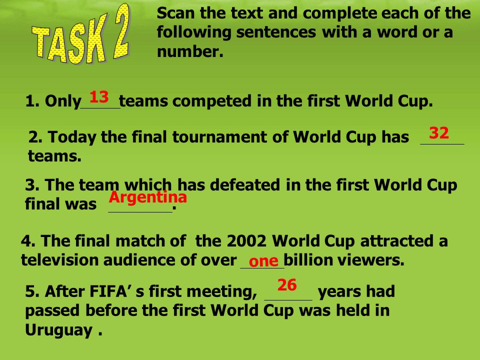 Scan the text and complete each of the following sentences with a word or a number. 1. Only teams competed in the first World Cup. 2. Today the final