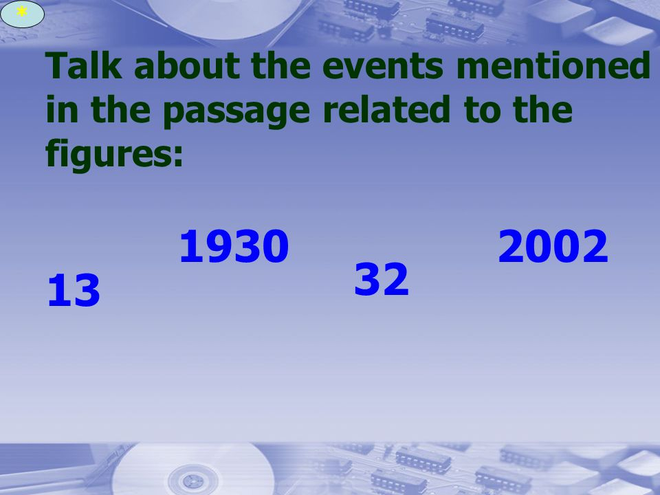Talk about the events mentioned in the passage related to the figures: 13 1930 32 2002 *