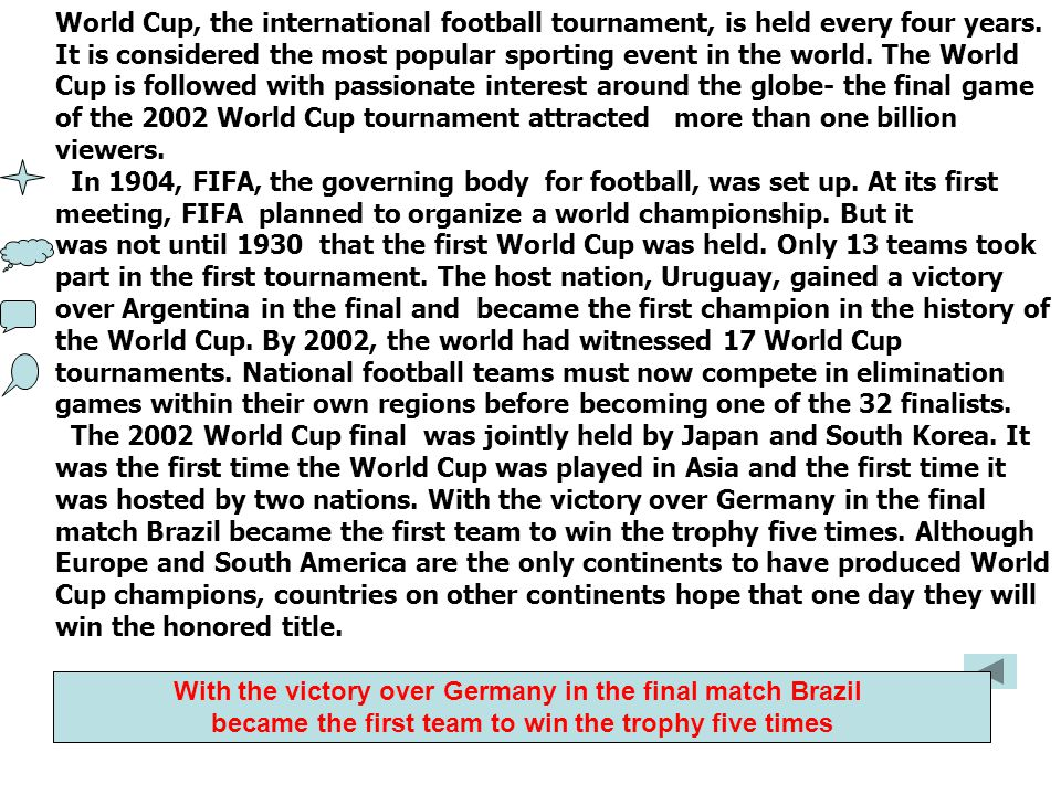 World Cup, the international football tournament, is held every four years. It is considered the most popular sporting event in the world. The World C