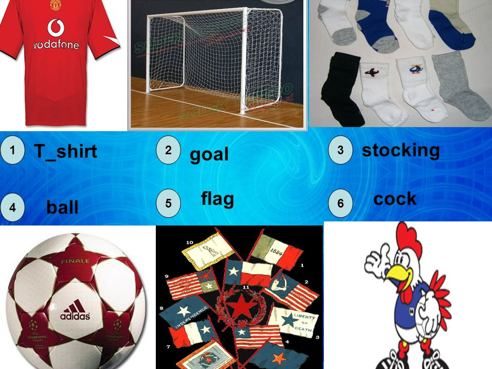 T_shirt goal stocking ball flagcock 123 4 56