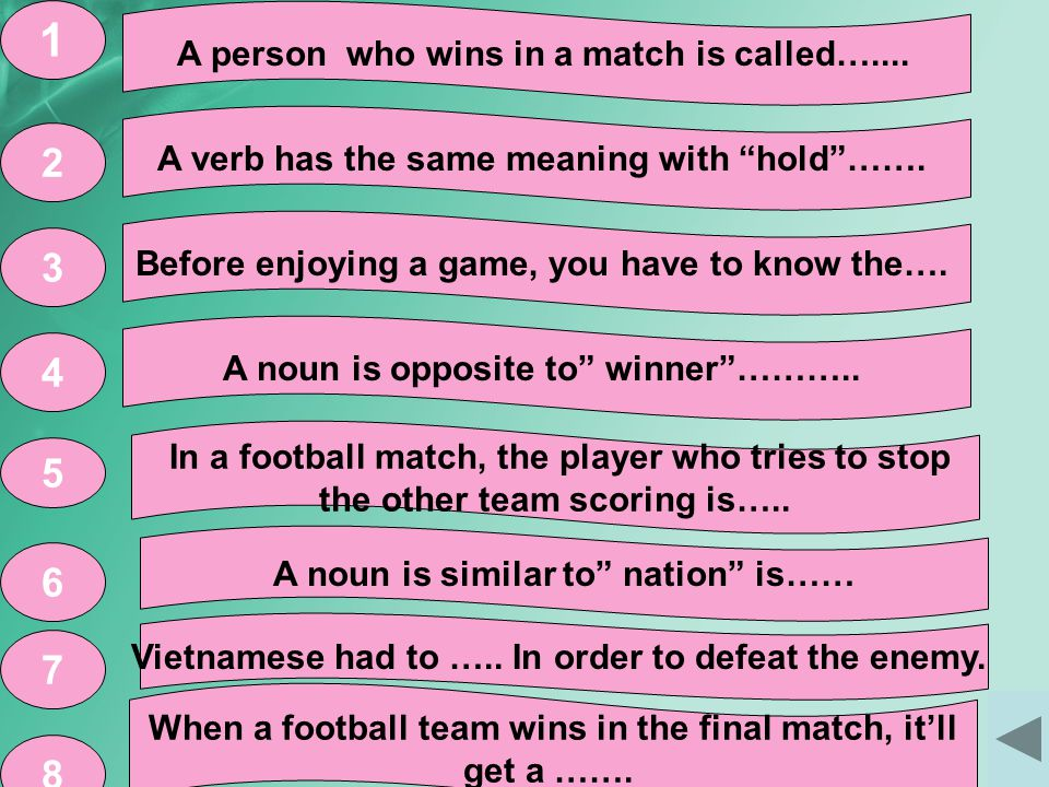 A person who wins in a match is called…....