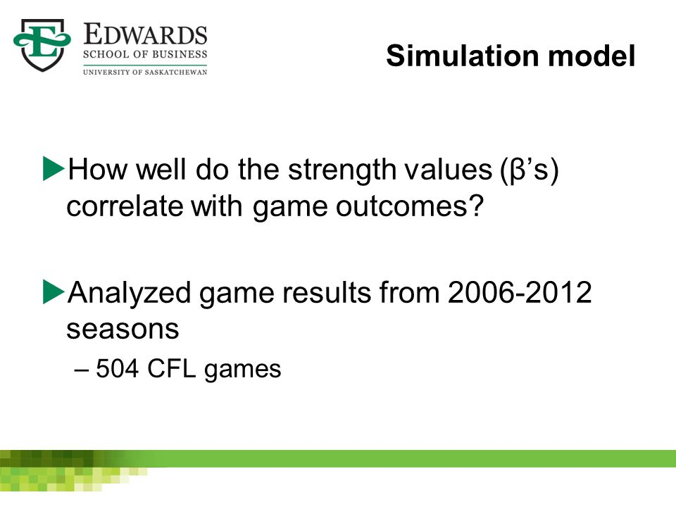Simulation model  How well do the strength values (β's) correlate with game outcomes.
