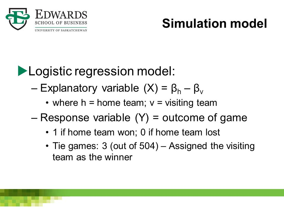 Simulation model  Logistic regression model: –Explanatory variable (X) = β h – β v where h = home team; v = visiting team –Response variable (Y) = outcome of game 1 if home team won; 0 if home team lost Tie games: 3 (out of 504) – Assigned the visiting team as the winner