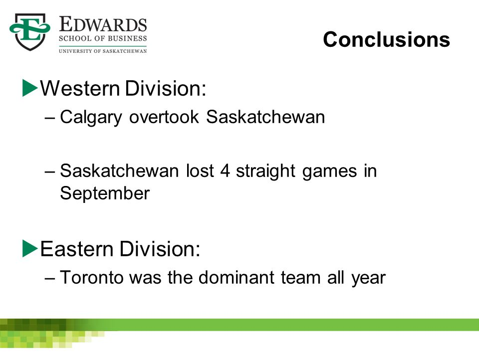 Conclusions  Western Division: –Calgary overtook Saskatchewan –Saskatchewan lost 4 straight games in September  Eastern Division: –Toronto was the d