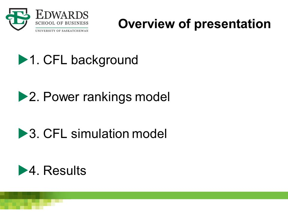 Overview of presentation  1. CFL background  2. Power rankings model  3. CFL simulation model  4. Results