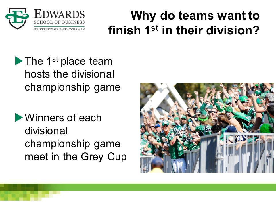 Why do teams want to finish 1 st in their division?  The 1 st place team hosts the divisional championship game  Winners of each divisional champion