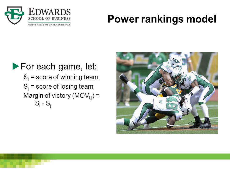 Power rankings model  For each game, let: S i = score of winning team S j = score of losing team Margin of victory (MOV i,j ) = S i - S j
