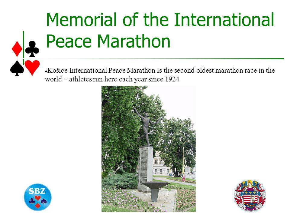 Memorial of the International Peace Marathon Košice International Peace Marathon is the second oldest marathon race in the world – athletes run here each year since 1924