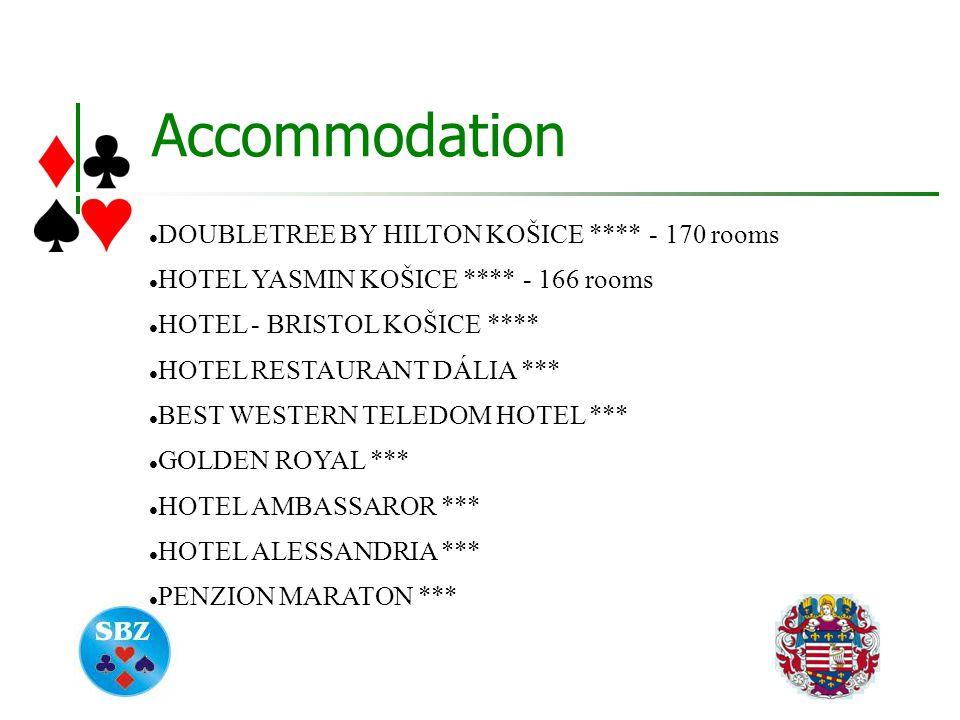 Accommodation DOUBLETREE BY HILTON KOŠICE **** - 170 rooms HOTEL YASMIN KOŠICE **** - 166 rooms HOTEL - BRISTOL KOŠICE **** HOTEL RESTAURANT DÁLIA *** BEST WESTERN TELEDOM HOTEL *** GOLDEN ROYAL *** HOTEL AMBASSAROR *** HOTEL ALESSANDRIA *** PENZION MARATON ***