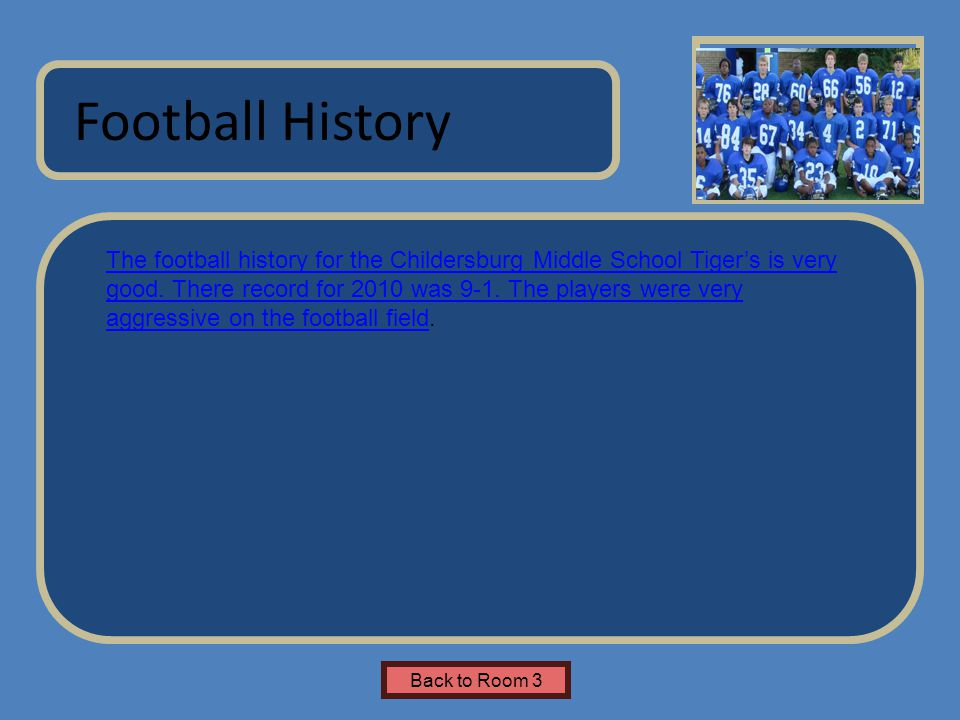 Name of Museum The football history for the Childersburg Middle School Tiger's is very good.