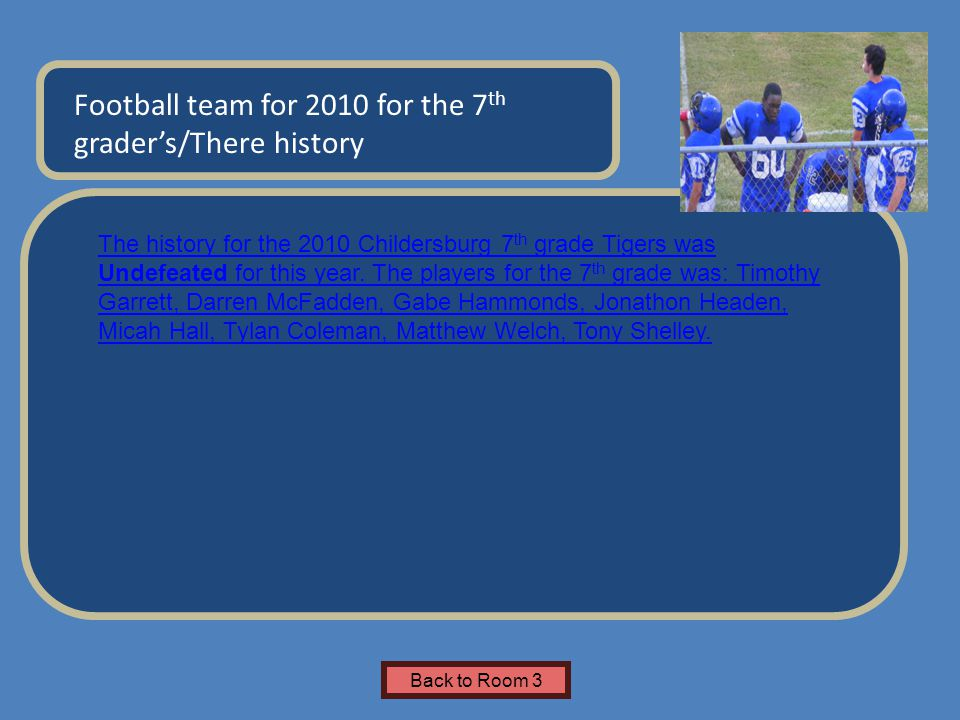 Name of Museum Football team for 2010 for the 7 th grader's/There history Insert Artifact Picture Here Back to Room 3 The history for the 2010 Childer